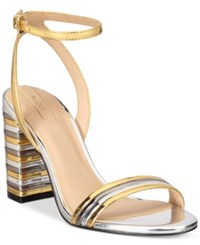 Aldo Izabela Block Heel Two Piece Sandals Gold