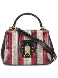 Dolce And Gabbana Lucia Striped Shoulder Bag Python Skin Red