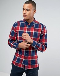 Esprit Slim Fit Long Sleeve Check Shirt Red 630