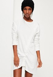 Missguided Cream Ruched Detail Jumper Dress