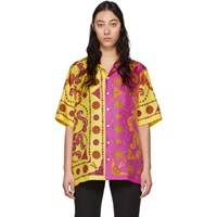 Versace Yellow And Pink Barocco Western Shirt