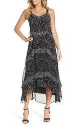 Taylor Dresses Polka Dot And Floral Tiered Maxi Dress