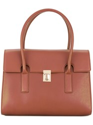 Paul Smith Foldover Top 'Concertina' Tote Bag Women Leather One Size Brown