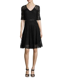 Rebecca Taylor V Neck Lace Party Dress W Leather Band
