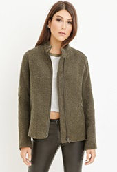 Forever 21 Button Collar Boucle Coat Olive