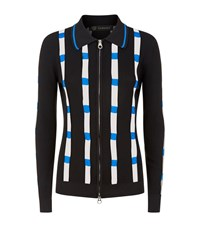 Versace Ribbed Mesh Panel Zip Up Cardigan Female Black