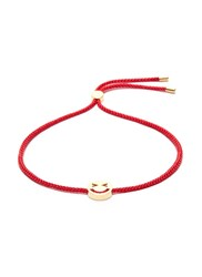 Ruifier 'Merry' 18K Yellow Gold Vermeil Charm Cord Bracelet Metallic Red