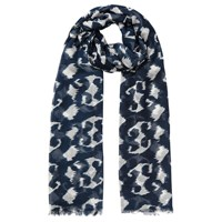 East Smudged Animal Print Scarf Navy