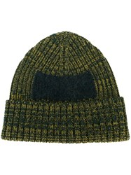 Oamc Ribbed Colour Block Beanie Green