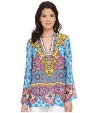 Hale Bob Salsa On The Beach Silk Chiffon Tunic Blue Women's Blouse