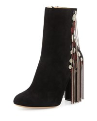Chloe Bead Fringe Suede Ankle Boot Black Mix Mix Multico
