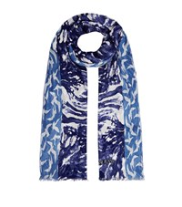 Armani Jeans Animal Print Scarf Female Blue