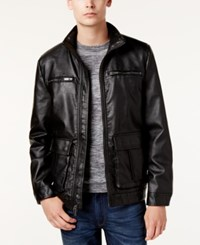Kenneth Cole Men's Faux Leather Moto Jacket Black