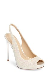 Imagine By Vince Camuto Women's 'Pavi' Slingback Peep Toe Pump Iridescent White Satin