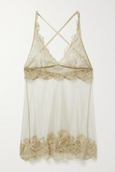 I.D. Sarrieri Satin Trimmed Embroidered Tulle Chemise Beige