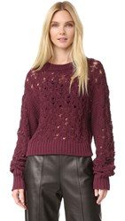 Public School Seed Stitch Cable Pullover Burgundy