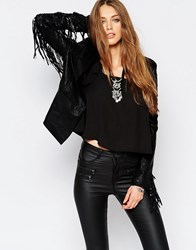 Wyldr Smart Ass Faux Leather Jacket With Fringing Black