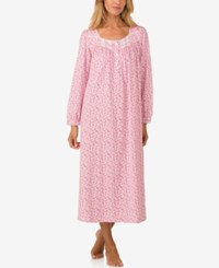 Eileen West Lace Trimmed Knit Ballet Length Nightgown Multi Print