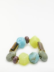 One Button Funky Fun Glass Bead Bracelet Spring Multi