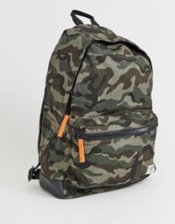 New Look Backpack In Camo Print Green