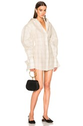 Jacquemus Shirt Dress In Checkered And Plaid Brown Neutrals Checkered And Plaid Brown Neutrals