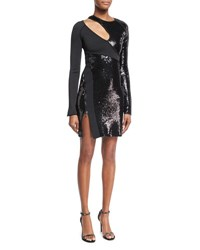 Thierry Mugler Long Sleeve Sequined Cutout Mini Dress Black