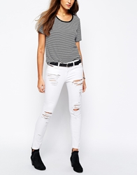 Tommy Hilfiger Hilfiger Denim Distressed Skinny Jeans With Ankle Zips White