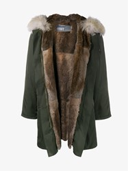 Yves Salomon Rabbit And Coyote Fur Lined Parka Green