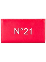 N 21 No21 Logo Plaque Wallet Women Leather One Size Red