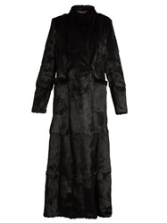 Etro Long Sleeved Embroidered Applique Fur Coat Black
