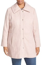 Plus Size Women's Jessica Simpson Basket Weave Fit And Flare Coat