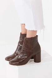 Urban Outfitters Sabrina Faux Snakeskin Ankle Boot Brown
