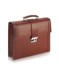 Pineider Power Elegance Brown Double Gusset Leather Briefcase