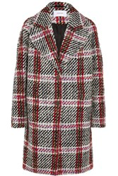 Carven Checked Wool Blend Tweed Coat Gray