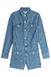 Alexa Chung For Ag Loretta Denim Playsuit Blue