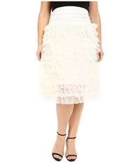 Kiyonna Tiered Tulle Skirt Ivory Women's Skirt White
