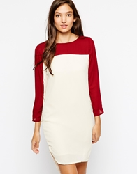 Paisie Two Tone Dress With Long Sleeves Burgandyandcream