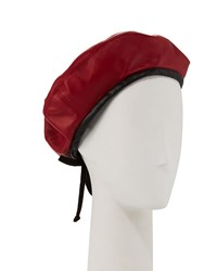 Eric Javits Kate Two Tone Leather Beret Red Black