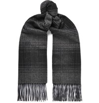 Brioni Checked Fringed Cashmere And Silk Blend Scarf Gray