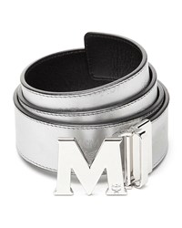 Mcm Metallic Embossed Visetos Belt Silver