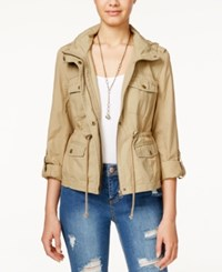 American Rag Mixed Fabric Roll Sleeve Hooded Parka Only At Macy's Khaki