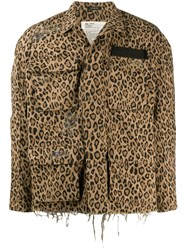 R 13 R13 Distressed Leopard Print Jacket 60