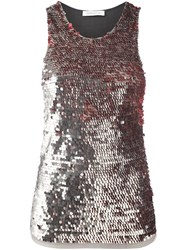 Balmain Pierre Sequined Halterneck Vest Grey