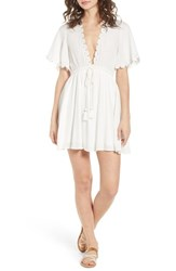 Lost Wander Magnolia Flutter Sleeve Dress White