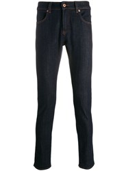 Natural Selection Contrasting Stitch Skinny Jeans Blue
