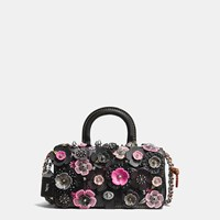 Coach Double Dinky In Glovetanned Leather With Wild Tea Rose Light Antique Nickel Black Pink