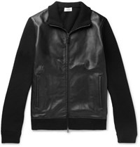 Brioni Leather Panelled Wool And Cashmere Blend Zip Up Cardigan Black
