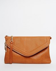 New Look Snake Effect Fold Over Clutch Bag Tan