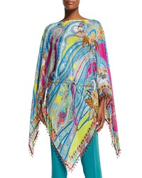 Long Sleeve Drawstring Waist Poncho Pink Women's Etro
