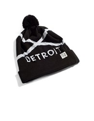 Tuck Shop Co. Detroit Striped Pompom Beanie Black